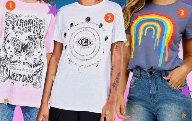 Camisetas com estampas diferentes