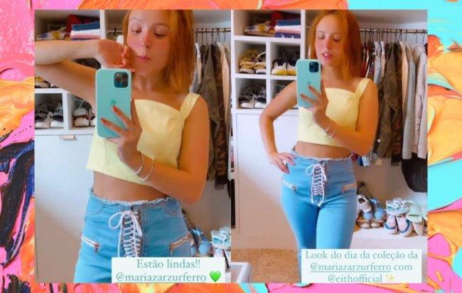 Larissa Manoela exibe calça diferentona