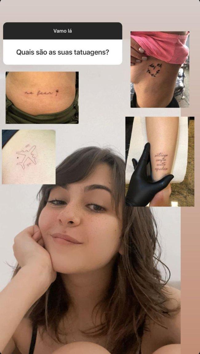 Stories com as tatuagens da Klara Castanho