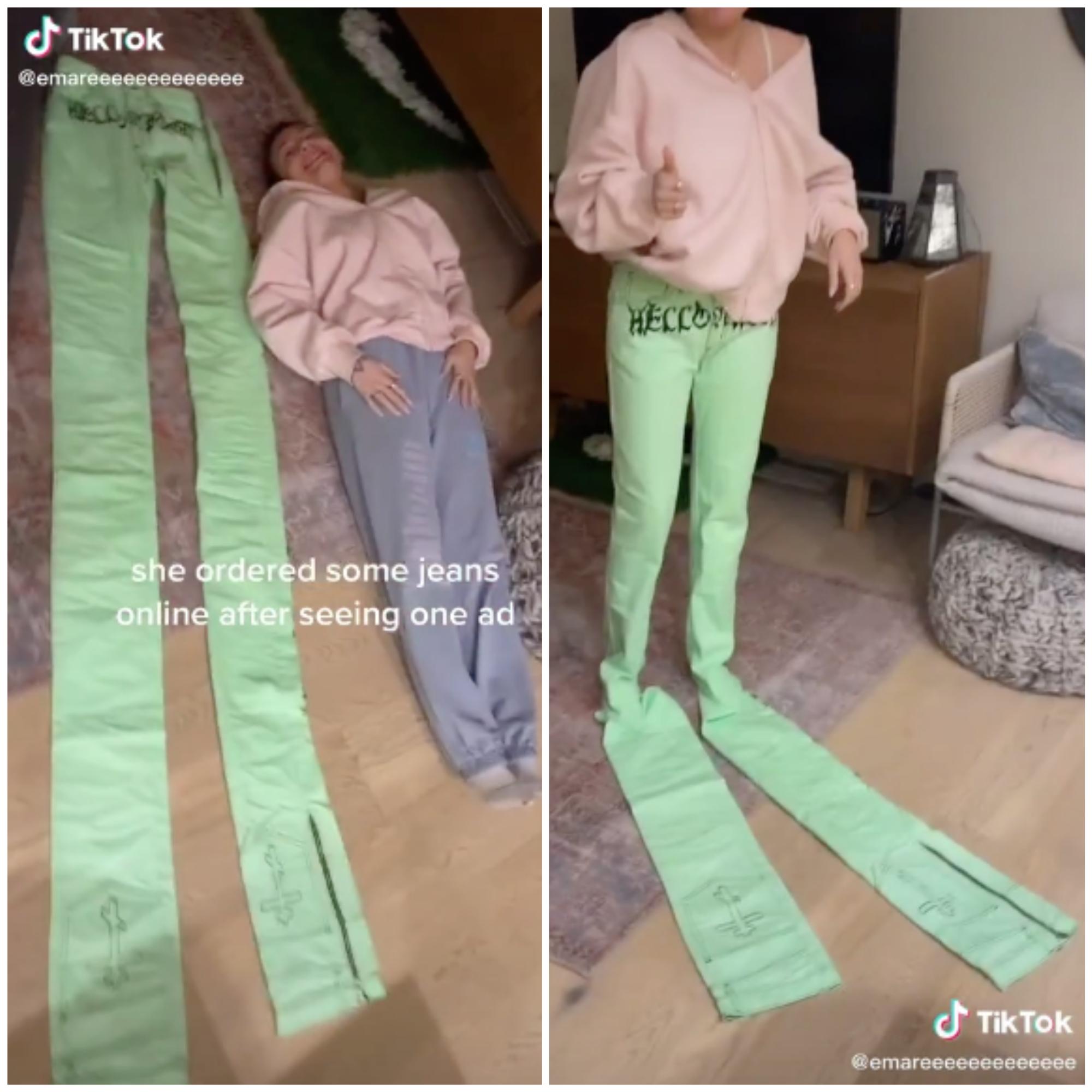 Mulher compra calça jeans e fica chocada ao receber roupa de 3 metros