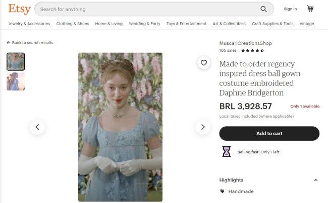 Réplica do vestido de Daphne