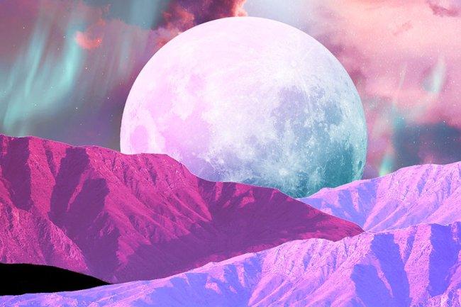 ilustração de lua e montanhas horóscopo