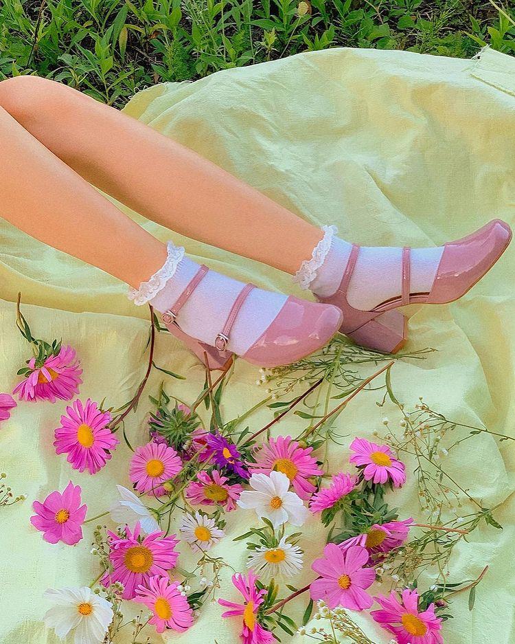 Sapato no estilo cottagecore