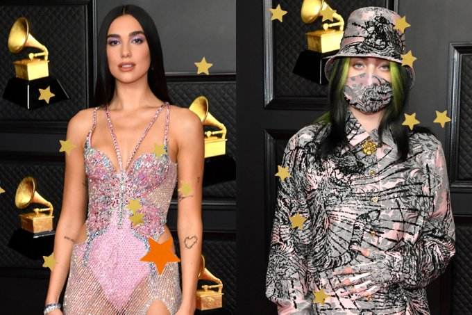 looks-grammy-2021-dua-lipa-billie-eilish