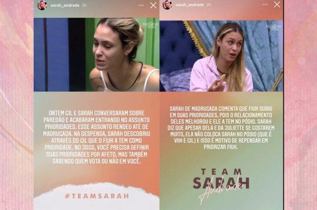 Stories da Sarah no Instagram