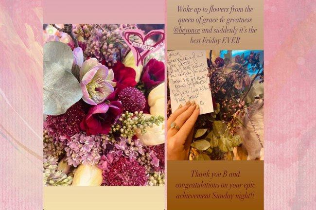 Stories de Taylor Swift mostrando as flores que recebeu de Beyoncé