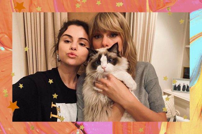 Selena Gomez fazendo biquinho ao lado de Taylor Swift, que está segurando um gato