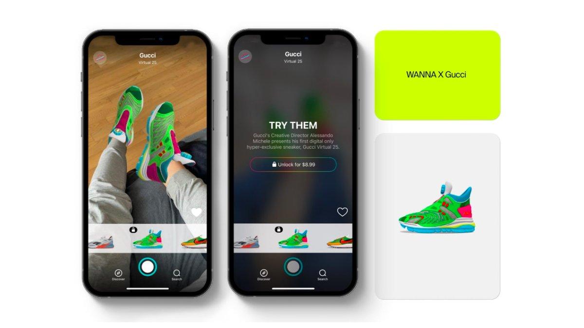 Tênis digital da Gucci x Wanna Kicks