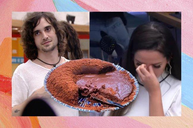 Montagem com imagem e Fiuk, Juliette com a cabeça baixa e os dedos entre os olhos e o bolo de chocolate feito por Fiuk no meio