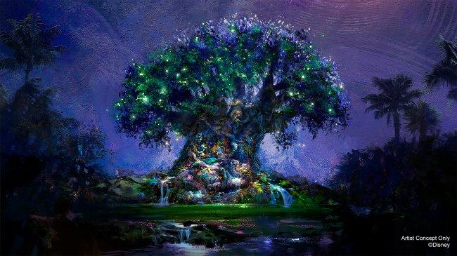 A Árvore da Vida, no Animal Kingdom, cheia de luzinhas coloridas