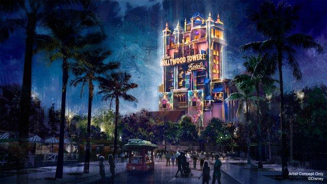 A Hollywood Tower of Terror, no Hollywood Studios, decorada com luzes neon, à noite, para festejar os 50 anos do Walt Disney World