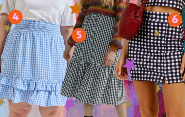 Montagem com três opções de saias xadrez, sendo a primeira azul e branca, a segunda preto e branca com babado no barrado da saia, preto e lilás e a última azul marinho e branca.