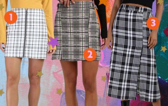 Montagem com três opções de saias xadrez, sendo a primeira branca, a segunda cinza, preto e lilás e a última preto e branca.