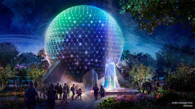 A famosa bola gigante do Epcot com luzes coloridas em homenagem aos 50 anos do Walt Disney World