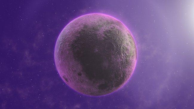 Imagem de uma Superlua rosa sobre um fundo místico roxo