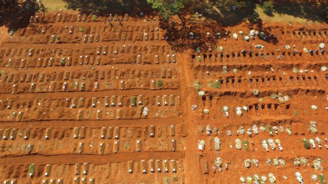 Foto mostrando a quantidade assustadora de túmulos que foram abertos para enterrar vítimas da COVID-19 em São Paulo