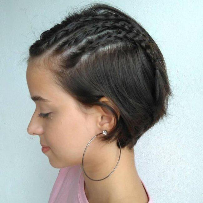 Inspiração de trança para cabelo curto