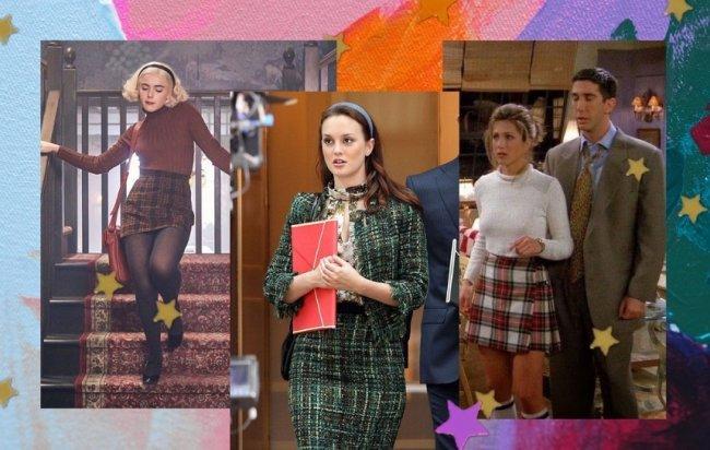 Sabrina Spellman descendo as escadas com blusa de rola gole e saia xadrez. Blair Waldorf segurando uma pasta vermelha, usando tiara, e conjuntinho xadrez verde. Rachel Green com blusa branca e saia xadrez ao lado de Ross que usa terno.
