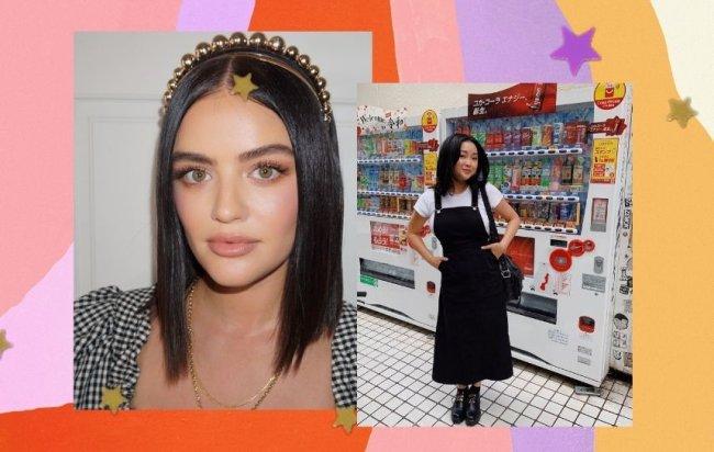 Montagem com Lucy Hale a direita com corte médio usando tiara, a esquerda Lana Condor com jardineira preta e camiseta branca mostrando seu corte médio no mercado.