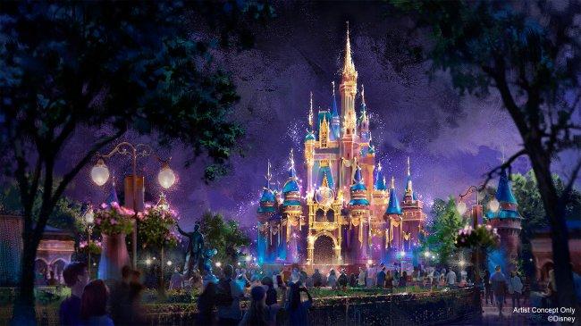 O Castelo da Cinderella decorado com luzes neon durante a noite, para celebrar os 50 anos do Walt Disney World