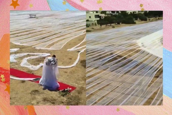 Noiva bate recorde ao usar véu de quase 7 mil metros e entra no Guiness