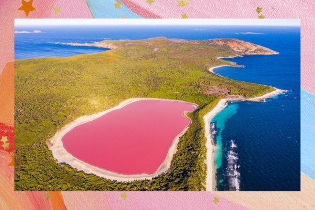 Vista aérea de lago australiano cor de rosa, cercado pela natureza e localizado próximo ao mar