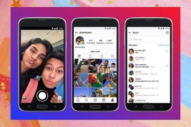 A imagem mostra três aparelhos Android exibindo o Instagram Lite