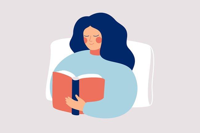 ilustração de uma garota de cabelo solto, deitada em uma cama lendo