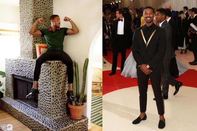 Michael B. Jordan usando calça cigarrete; à esquerda, ele está sentado sobre uma lareira, com os braços fazendo muque. À direita, ele posa todo de preto no tapete vermelho do MET Gala de 2016