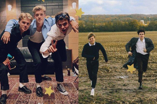 George, Reece e Blake, da banda britânica New Hope Club, posam usando calça do modelo cigarrete; à esquerda, em um estúdio, e à direita, em um parque