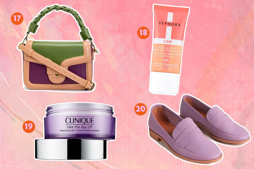 Montagem com fundo rosa e opções de produtos para dar de presente. Em cima, uma bolsa bege, verde e roxa e uma base com embalagem rosa e branca. Embaixo, um demaquilante em creme roxo e um mocassim lilás.