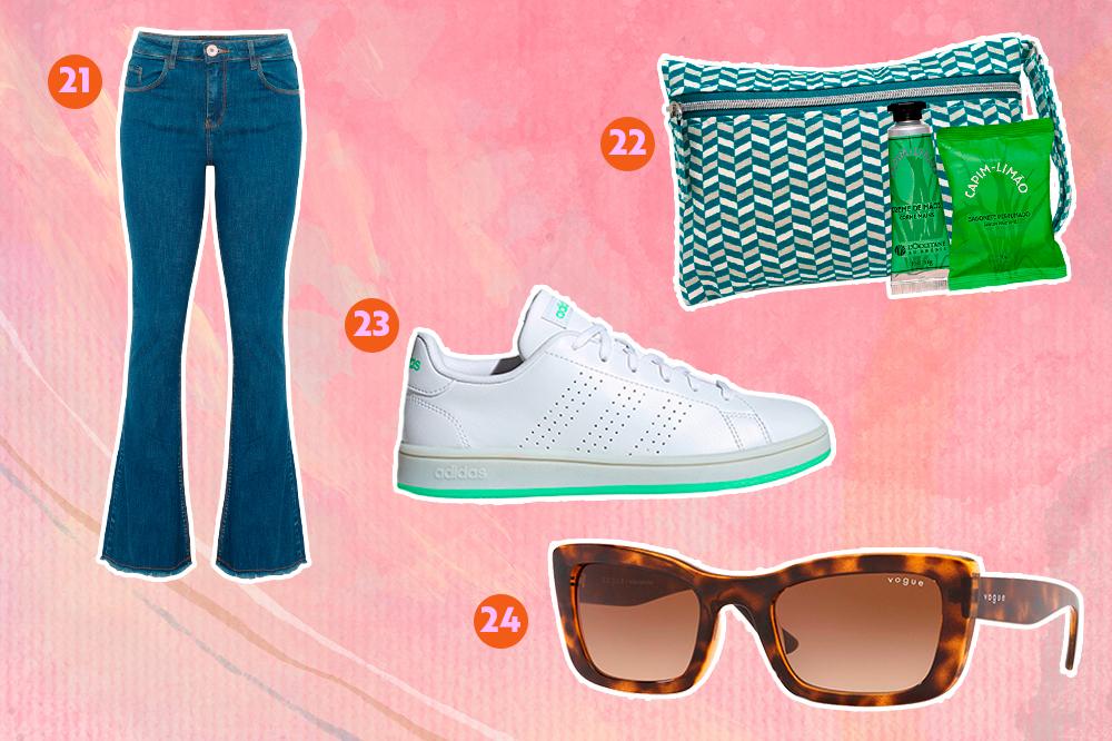 Montagem com fundo rosa e opções de produtos para dar de presente. Em cima, uma calça jeans flare e um kit com creme para as mãos, necessáire e sabonete. Embaixo, um tênis branco e um óculos de sol.