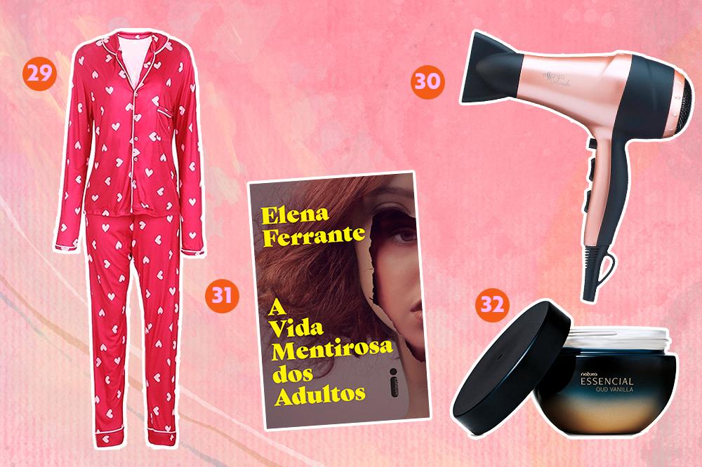 Montagem com fundo rosa e opções de produtos para dar de presente. Em cima, um pijama com estampa de coração e um secador de cabelo. Embaixo, o livro A Vida Misteriosa dos Adultos e um creme hidratante corporal.
