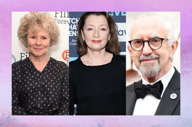 contagem com imagem da atriz Imelda Staunton, Lesley Manville e do ator Jonathan Pryce.
