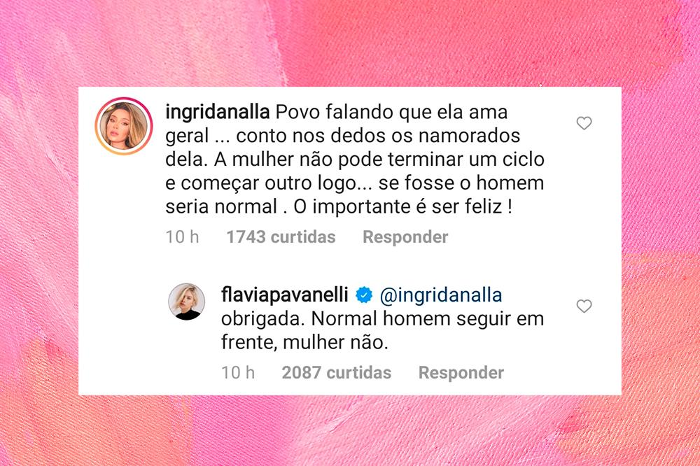 Captura de tela da resposta de Flavia Pavanelli a um comentário. O comentário diz