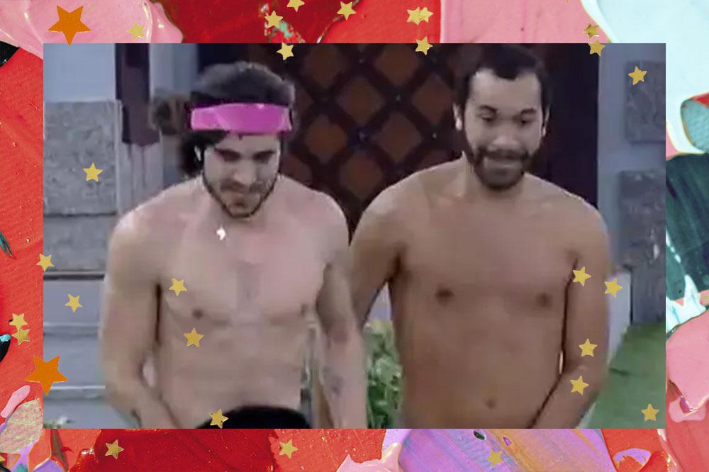 Fiuk e Gil no BBB21, os dois estão se roupas, Fiuk usa apenas uma bandana rosa na cabeça enquanto correm para pular na piscina