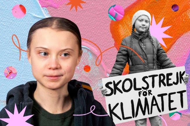 Colagem com duas imagens de Greta Thunberg. Na primeira, aparece apenas o rosto da jovem e, na segunda, Greta segurando um cartaz com a frase