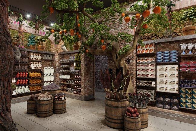 Imagem da nova loja temática de Harry Potter, em New York, com árvores e estantes com produtos ao fundo