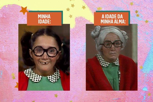 As personagens Chiquinha e Dona Neves, de Chaves, uma do lado da outra, para dar contraste de idades