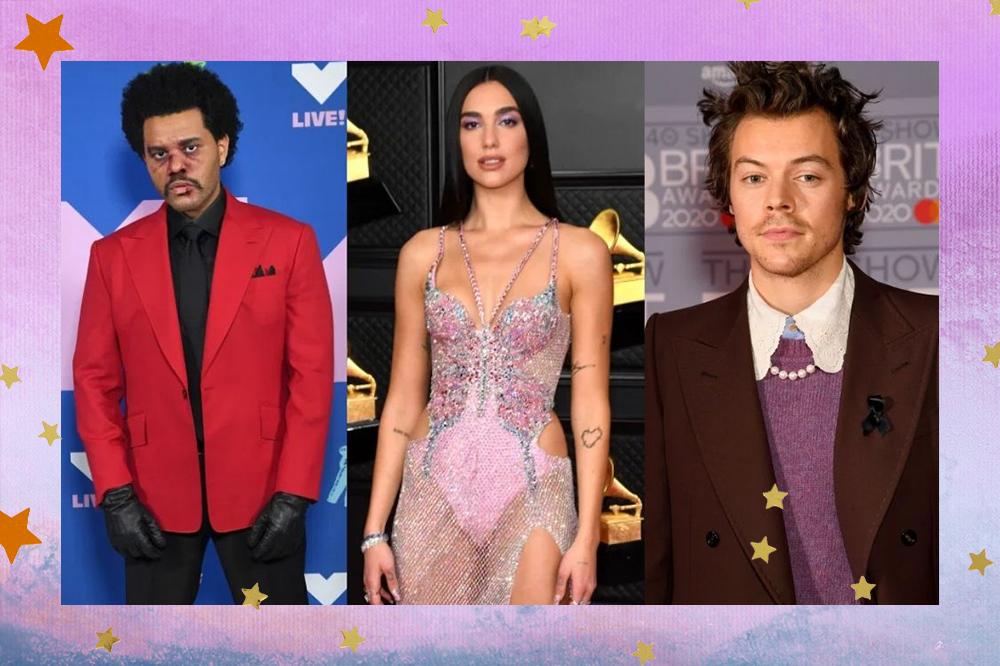 Montagem com The Weeknd usando blazer vermelho; Dua Lipa de vestido com pedraria; Harry Styles com blazer e cardigã roxo