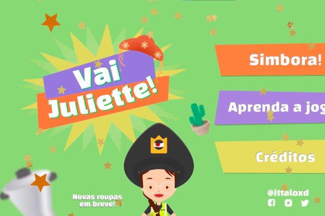 Imagem de divulgação do jogo Vai Juliette!; na imagem, temos a Juliette vestindo um cap de policial