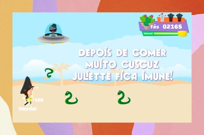 Imagem de divulgação do jogo Vai Juliette!; na imagem, temos a avatar da Juliette vestindo um cap de policial, cobrinhas e extreterrestres