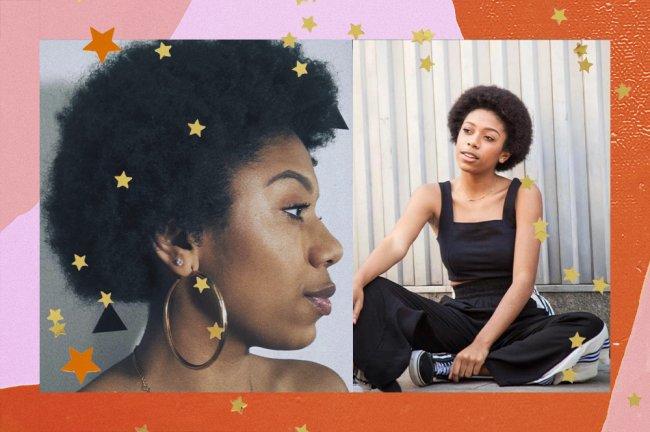 Na primeira foto, Julia Sanches está de perfil mostrando seu cabelo. Na segunda imagem, aparece usando um macacão preto e com uma das pernas dobradas