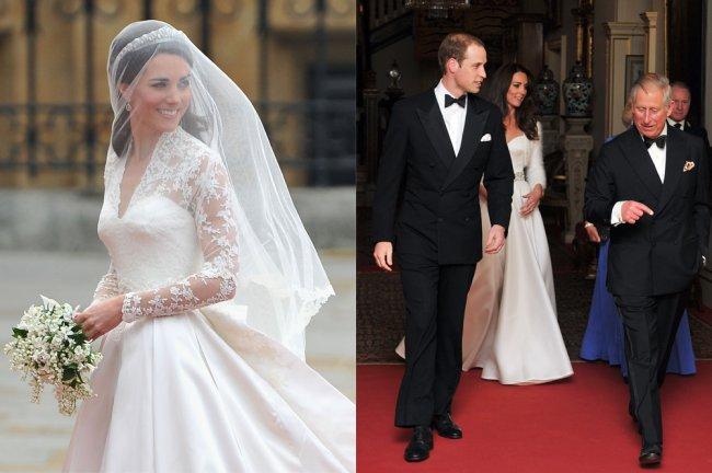 Duas fotos. À esquerda, Kate Middleton olhando para o lado e sorrindo, vestida de noiva, durante o Casamento Real. À direita, Kate, William e Charles deixando a Clarence House