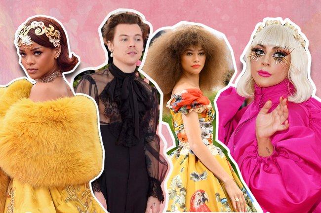 Colagem com Rihanna no olhando de lado com um vestido amarelo, Harry Styles com uma camisa transparente preta, Zendaya com um vestido estampado amarelo e Lady Gaga com um traje rosano Met Gala