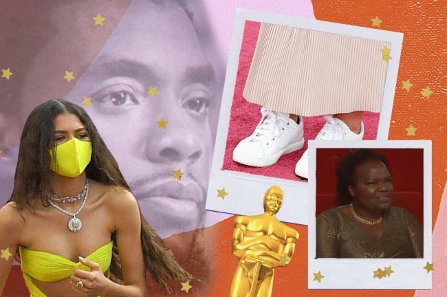 Montagem com as fotos de Zendaya vestindo uma máscara de proteção amarela, a homenagem póstuma do Oscar ao Chadwick Boseman, uma foto de um tênis branco no tapete vermelho e uma com a reação da mãe de Daniel Kaluuya