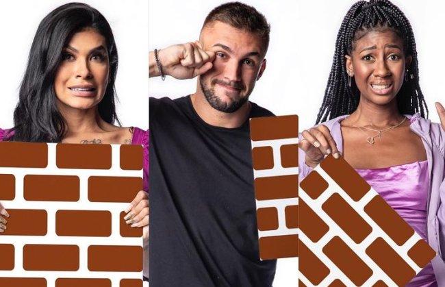 Pocah, Arthur e Camilla seguram os paredões do BBB21 em foto de divulgação