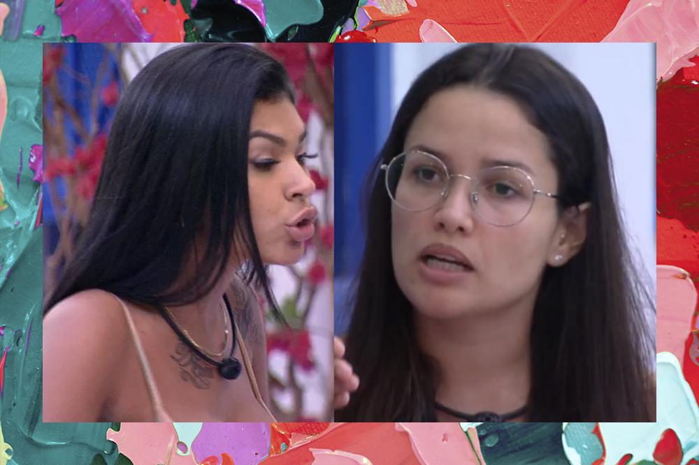 Montagem de duas imagens de Pocah e Juliette no BBB21; Na primeira Pocah está olhando para Juliette enquanto discute; na segunda Juliette está de óculos olhando para Pocah enquanto fala