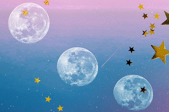 céu em um tom degradê rosa e azul. Nele, três luas brancas rodeadas de estrelas douradas
