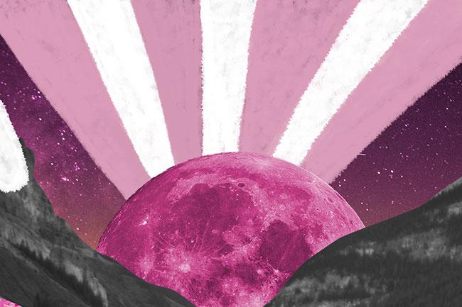 ilustração mostra duas montanhas pretas e um sol rosa nascendo entre elas. Os raios dele são brancos e rosa